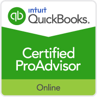 Badge that reads: QuickBooks Certified ProAdvisor